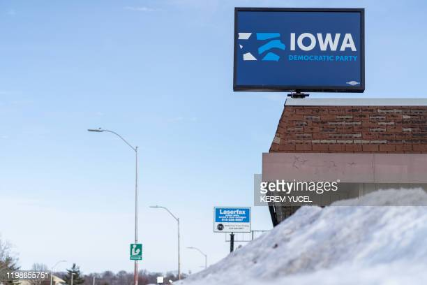 The Iowa Democratic party head office is seen on February 42020 in Des Moines Iowa The US Democratic Party was unable to provide results from the...