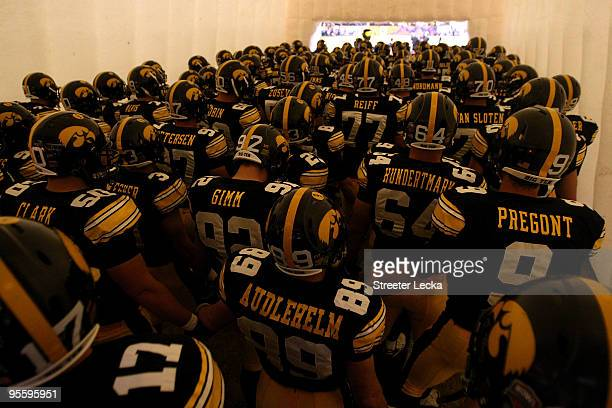 The Iowa Hawkeyes get set to take the field to play against the Georgia Tech Yellow Jackets during the FedEx Orange Bowl at Land Shark Stadium on...