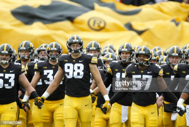 The Iowa Hawkeyes take the field before the matchup against the Nebraska Cornhuskers on November 23 2018 at Kinnick Stadium in Iowa City Iowa