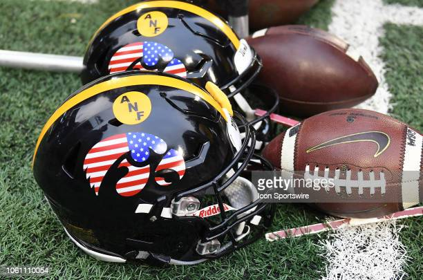The Iowa Hawkeyes wore a special helmet to honor veterans during a Big Ten Conference football game between the Northwestern Wildcats and the Iowa...