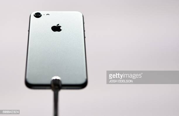 The iPhone 7 is seen on display during an Apple media event at Bill Graham Civic Auditorium in San Francisco California on September 7 2016 Apple on...