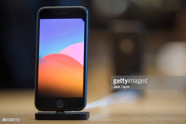 The iPhone 8 on display at Apple Regent Street for the launch of the new phone on September 22 2017 in London England Apple have today launched their...