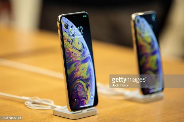 The iPhone XS Max and the iPhone XS on display at the Apple Regent Street store during their launch on September 21 2018 in London England Apple have...