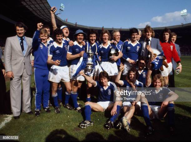 The Ipswich Town team with the FA Cup after their 1-0 victory over Arsenal in the FA Cup Final at Wembley Stadium, 6th May 1978. Back row Bobby...