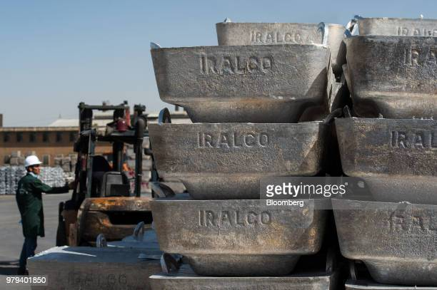 The Iralco company stamp sits on the side of finished aluminium ingots awaiting distribution at the Iran Aluminium Co plant in Arak Iran on Tuesday...