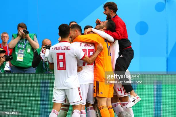 The Iran players celebrate at the end of the 2018 FIFA World Cup Russia group B match between Morocco and Iran at Saint Petersburg Stadium on June 15...