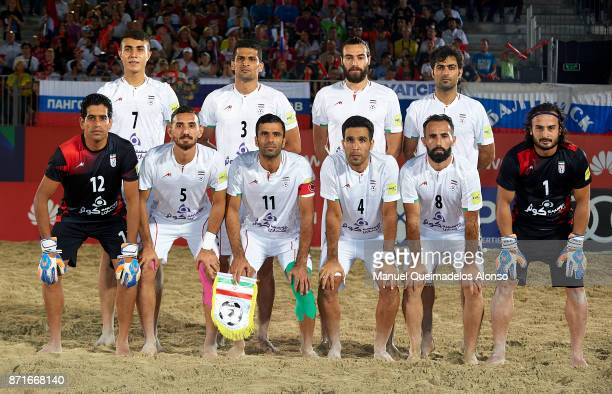 The Iran team line up for a photo prior to kick off during the Huawei Intercontinental Beach Soccer Cup match between Iran and Russia at Marasi...