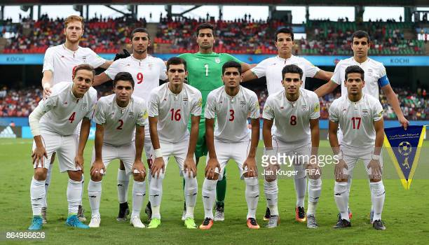The Iran team line up for a team picture during the FIFA U17 World Cup India 2017 Quarter Final match between Spain and Iran at Jawaharlal Nehru...