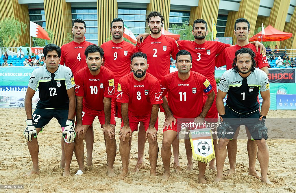 The Iran team pose prior to the Continental Beach Soccer Tournament match between Japan and Iran at Municipal Sports Center on August 24, 2016 in Ordos of Inner Mongolia Autonomous Region, China.