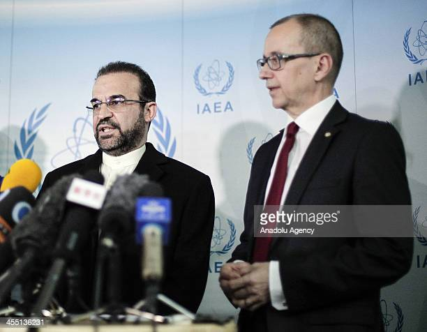 The Iranian Ambassador to the International Atomic Energy Agency Reza Najafi and IAEA Deputy Director General and Head of the Department of...