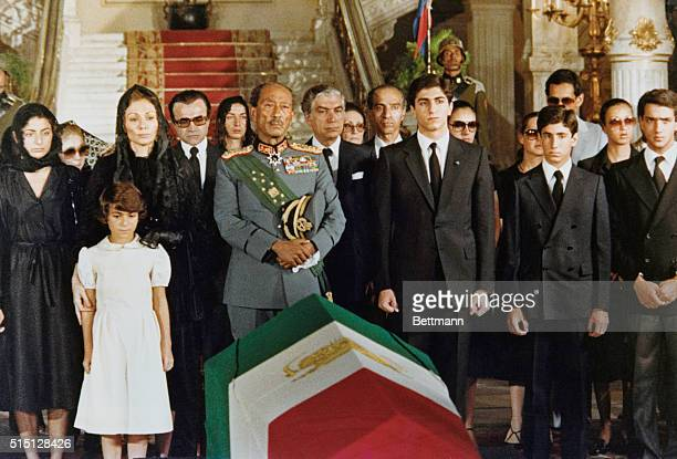 The Iranian flag draped casket bearing the body of the exShah of Iran as it lays in the Abdin Palace here 7/29 prior to start of journey to the...