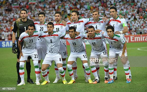 The Iranian team poses before their Group C football match against the United Arab Emirates at the AFC Asian Cup in Brisbane on January 19 2015 AFP...