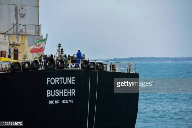 The Iranian-flagged oil tanker Fortune is docked at the El Palito refinery after its arrival to Puerto Cabello in the northern state of Carabobo,...