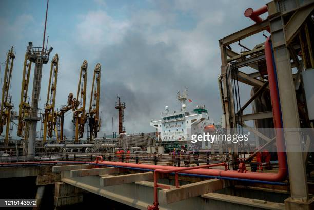 The Iranianflagged oil tanker Fortune is docked at the El Palito refinery after its arrival to Puerto Cabello in the northern state of Carabobo...