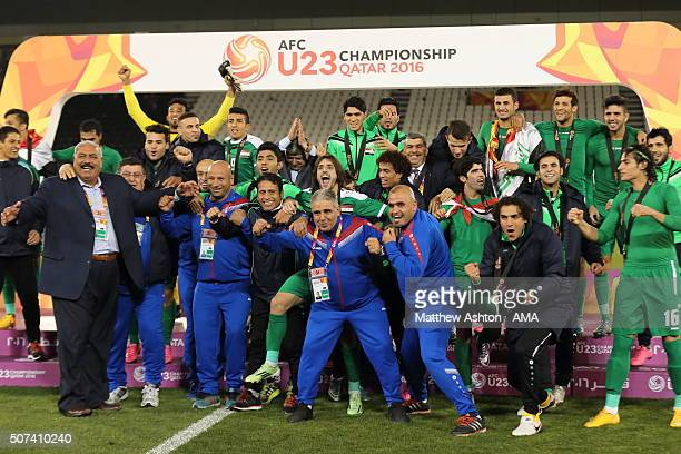 The Iraq team celebrate after qualifying for the 2016 Brazil Olympics as their game ended in victory in the AFC U23 Championship 3rd/4th Playoff...