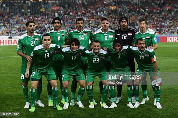 The Iraq team lines up during the Asian Cup Semi Final match between Korea Republic and Iraq at ANZ Stadium on January 26 2015 in Sydney Australia