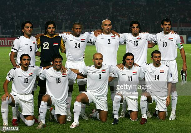 The Iraq team lines up for the start of the AFC Asian Cup 2007 final between Iraq and Saudi Arabia at Gelora Bung Karno Stadium on July 29 2007 in...