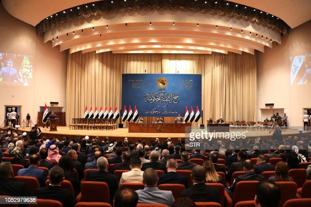 The Iraqi parliament votes on the new Iraqi government, headed by Adel Abdul Mahdi, October 24, 2018 in Baghdad. - The Iraqi parliament on Thursday...