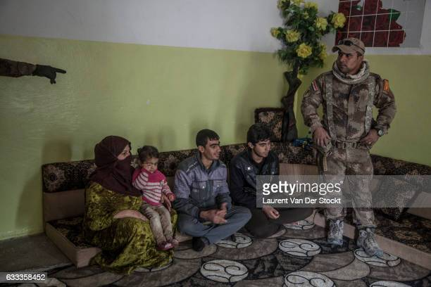 DISTRICT MOSUL IRAQ NOVEMBER 10 2016 The Iraqi Special Operations Forces lead by Major Salam Jasim Hussein AlObeidi in Saddam an eastern district of...