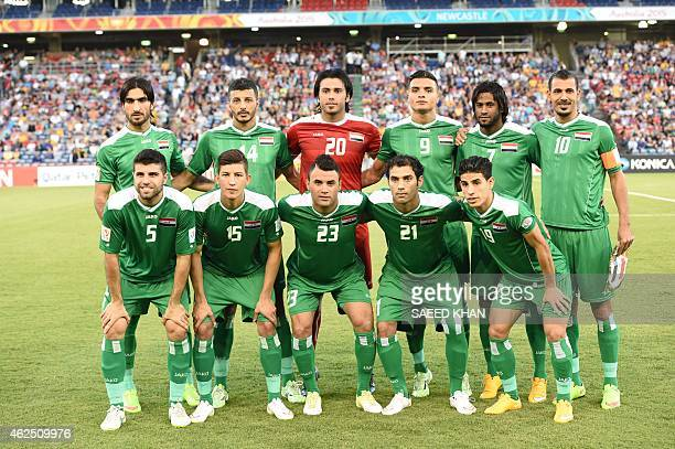 The Iraqi team poses for a group photo before the thirdplace playoff football match between Iraq and United Arab Emirates at the AFC Asian Cup in...