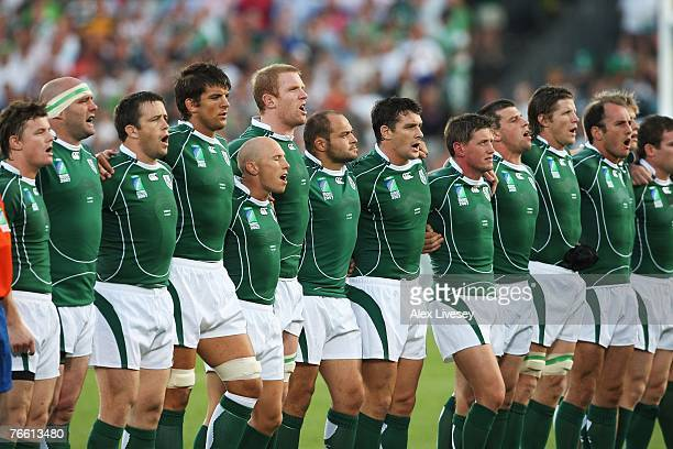 The Ireland players line up for the national anthems at the start of Match Eight of the Rugby World Cup 2007 between Ireland and Namibia at the Stade...