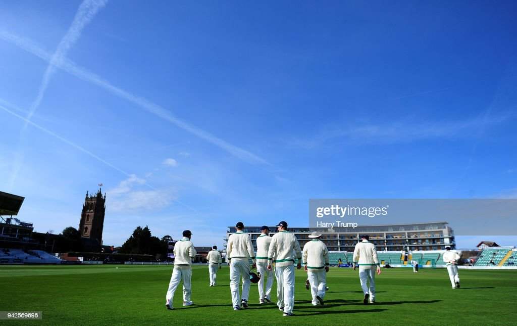 The Ireland side walk out to field during Day One of the Friendly match between Somerset and Ireland at The Cooper Associates County Ground on April 6, 2018 in Taunton, England.