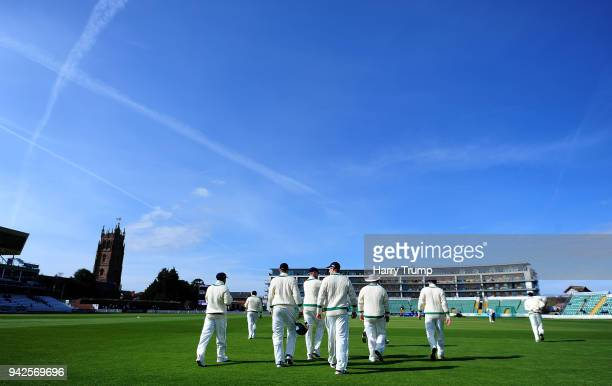 The Ireland side walk out to field during Day One of the Friendly match between Somerset and Ireland at The Cooper Associates County Ground on April...