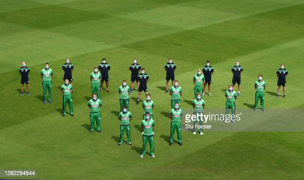 The Ireland squad pose for a socially distanced team picture ahead of the Royal London ODI series against England at Ageas Bowl on July 29, 2020 in...