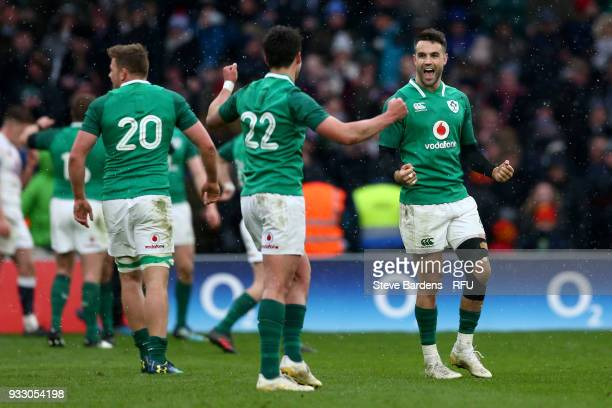 The Ireland team celebrate victory as they them claim the Grand Slam and Triple Crown after the NatWest Six Nations match between England and Ireland...