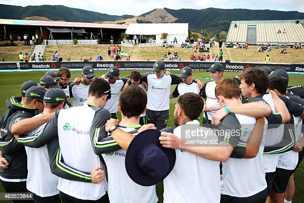 The Ireland team in a huddle prior to the 2015 ICC Cricket World Cup match between the West Indies and Ireland at Saxton Field on February 16 2015 in...