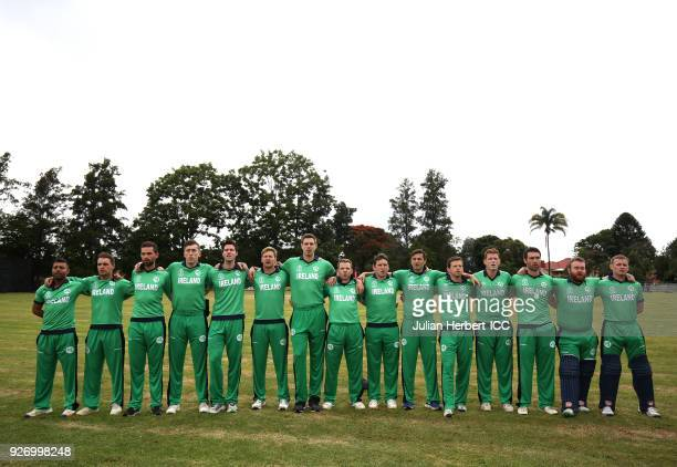 The Ireland team line up for the playing of The National Anthems before the ICC Cricket World Cup Qualifier between Ireland and The Netherlands at...