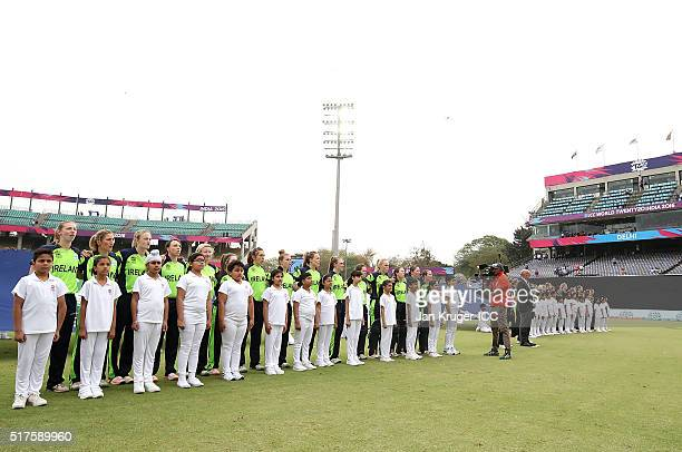 The Ireland team line up for their national anthem during the Women's ICC World Twenty20 India 2016 match between Australia and Ireland at The Feroz...