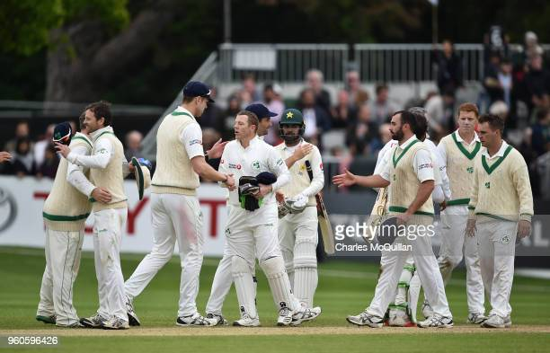 The Ireland team shake each others hands after the fifth day of the international test cricket match between Ireland and Pakistan on May 15 2018 in...