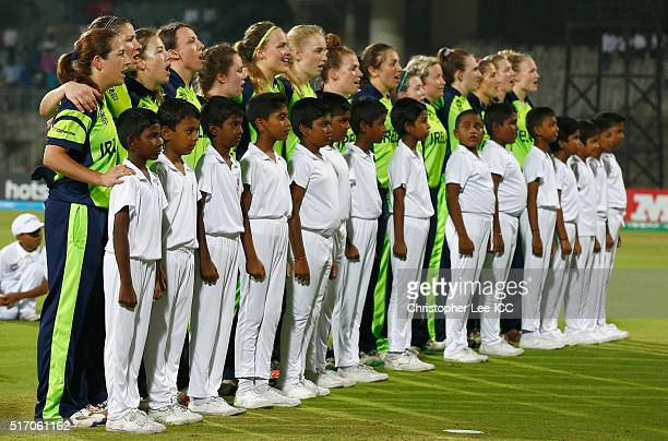 The Ireland team sing their National Anthem during the Women's ICC World Twenty20 India 2016 Group A match between South Africa and Ireland at the...