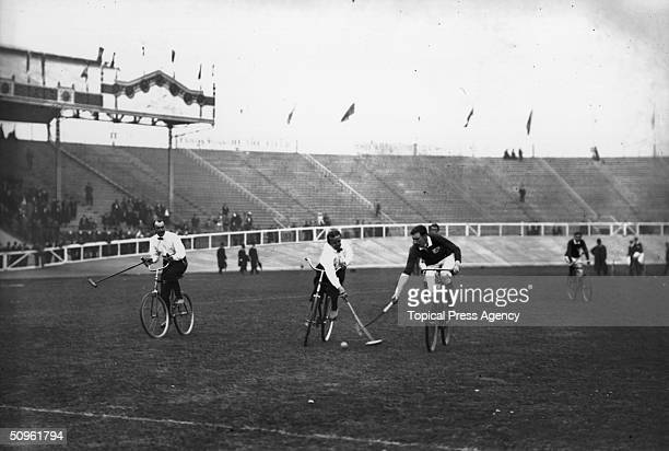 The Irish and German national teams competing in the Bicycle Polo final at the Shepherd's Bush Stadium during the 1908 London Olympics where the...