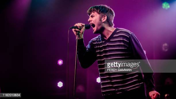 """The Irish band Fontaines DC performs on the stage of """"A Campingflight to Lowlands Paradise"""" music festival, on the first day of the 27th edition of..."""