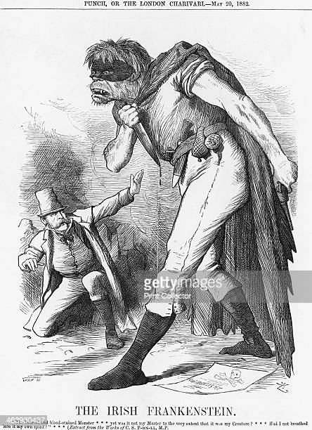 'The Irish Frankenstein' 1882 An awestruck Charles Parnell of the Irish Nationalist Party is crouching before his Creature which is depicted with the...