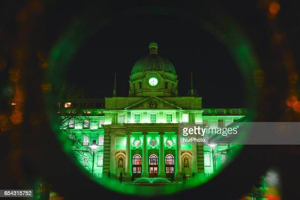 The Irish Government Buildings in Dublin go green on the eve of St Patrick's Day On Thursday March 16 in Dublin Ireland