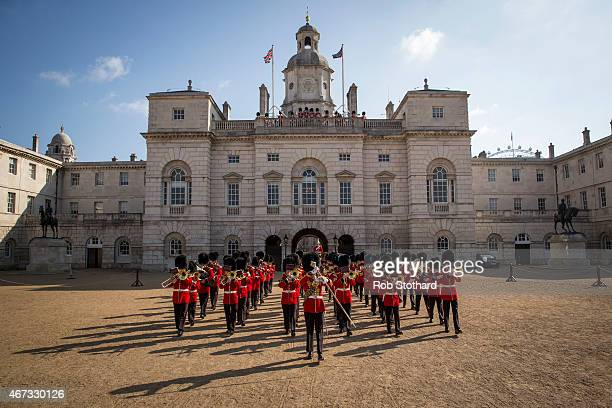 The Irish Guards march onto Horse Guards Parade during the official launch of this summer's Beating Retreat on March 23, 2015 in London, England. An...
