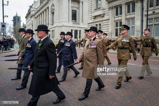 The Irish Guards parade to mark St Patrick's Day in central London on March 15 2020