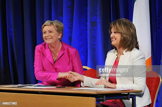 The Irish Minister for Justice and Equality Frances Fitzgerald shakes hands with Tanaiste Joan Burton after signing the commencement order for the...