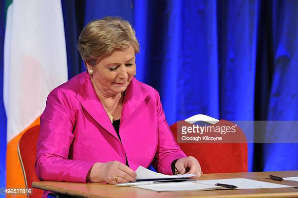 The Irish Minister for Justice and Equality Frances Fitzgerald signs the commencement order for the Marriage Act 2015 and an accompanying regulation...