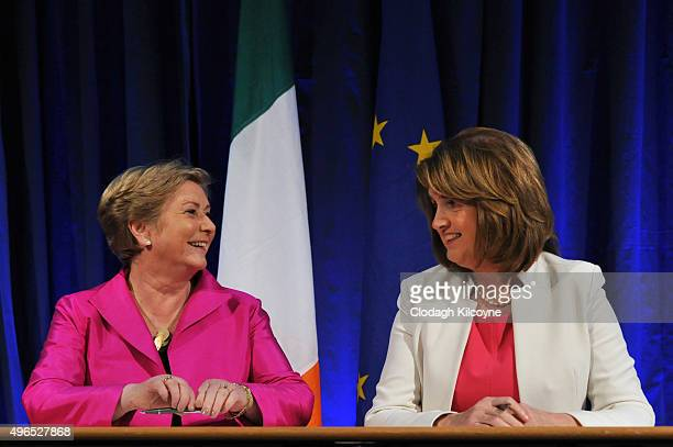The Irish Minister for Justice and Equality Frances Fitzgerald smiles after she and the Tanaiste Joan Burton signed the commencement order for the...