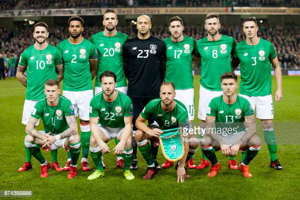 The Irish national football team poses for photo during the FIFA World Cup 2018 PlayOff match between Republic of Ireland and Denmark at Aviva...
