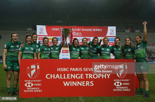 The Irish players celebrate with the trophy after their victory in the Women's Trophy Final between Ireland and Russia during the HSBC Paris Sevens...