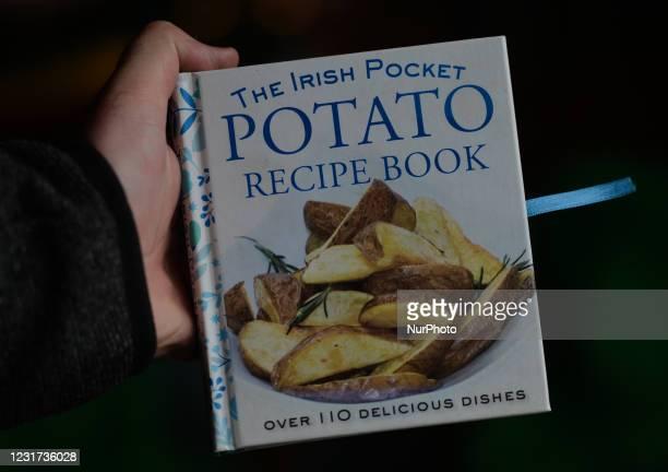 The Irish Pocket Potato Recipe Book on display inside the Irish Potato Cake Company restaurant in Dublin's city center. On Monday, 15 March 2021, in...