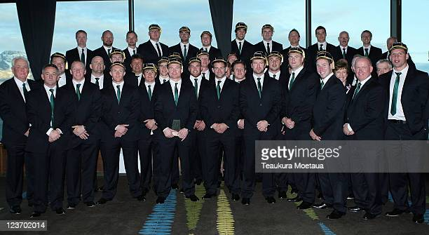 The Irish Rugby team pose for a team photo during the Irish IRB Rugby World Cup 2011 official team welcome ceremony at The Skyline Gondola on...