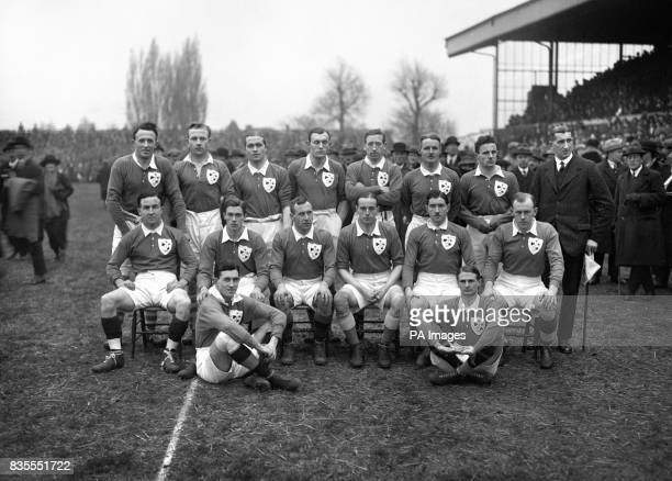 The Irish team Back row left to right Capt Billy Hinton Denis Cussen Noel Purcell Andy Courtney Charles Hallaran Thomas McClelland P Birmingham...