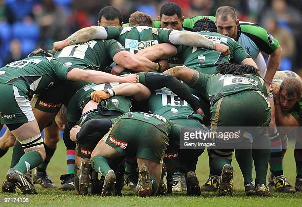The Irish team go into the scrum during the Guinness Premiership match between London Irish and Harlequins at the Madejski Stadium on February 28,...