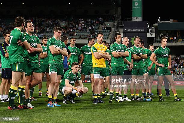 The Irish team look on after being defeated during the International Rules Test Match between Australia and Ireland at Patersons Stadium on November...
